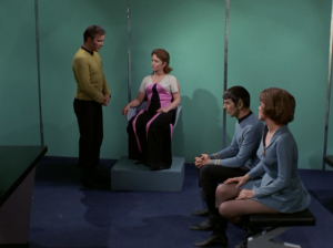 They hold a little trial to try to figure things out. It should have been pretty easy to figure out who has Kirk's knowledge. It's sad when this type of situation was handled better in a Get Smart episode.