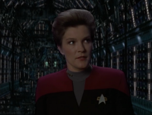 Janeway makes her proposal to the Borg. They'll work on the counter to species 8472 together and Voyager gets safe passage through their space
