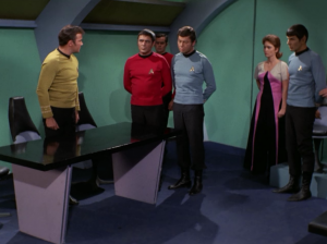 Bones and Scotty join with Spock. Janice locks them all away and says they'll be executed