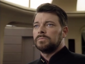 Riker is forced to use Geordi's weapon against the Borg, even though Picard is on the cube.