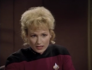 """They meet up with an admiral """"JP"""" and a commander named Shelby. Riker was offered to captain a ship and Shelby wants to take his place as first officer on Enterprise"""