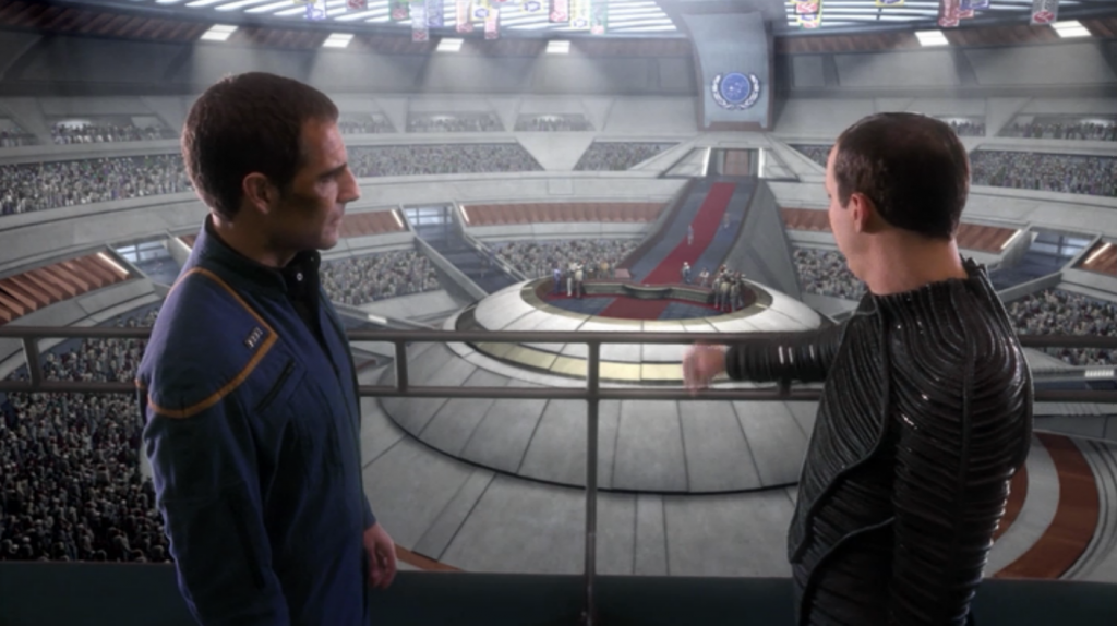 Daniels warns Archer not to go on the weapon because he's too valuable to the formation of the Federation.
