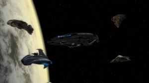 Degra and his pals escort Enterprise to the council