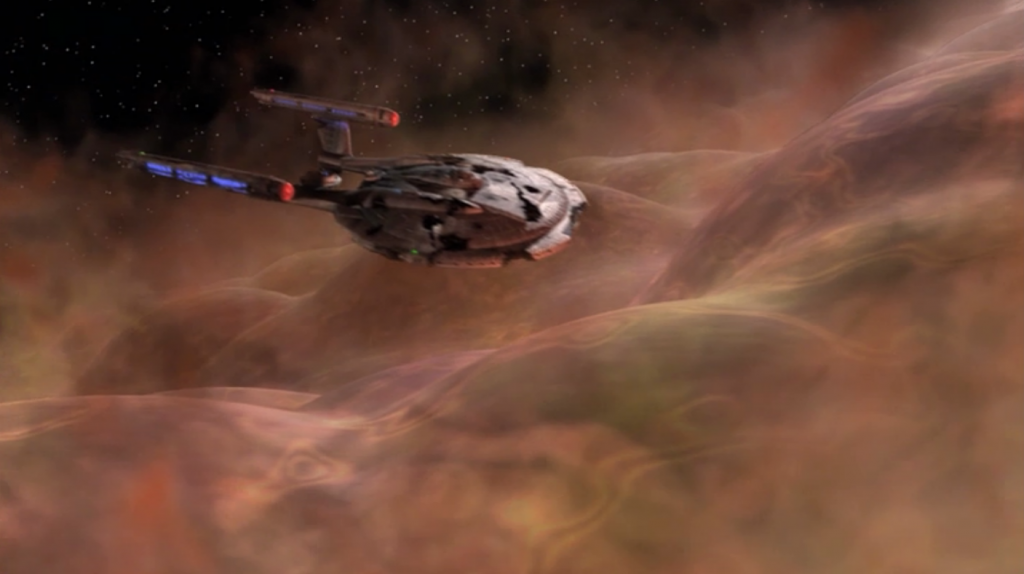 T'Pol leads Enterprise to destroy the main sphere. The space around it is being changed