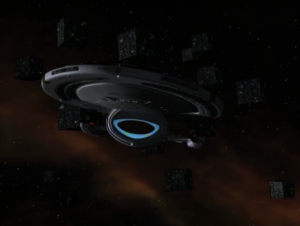 A bunch of Borg cubes drive right by Voyager