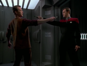 Paris goes through the story all the way until Janeway starts to retake the ship, but the story was unfinished