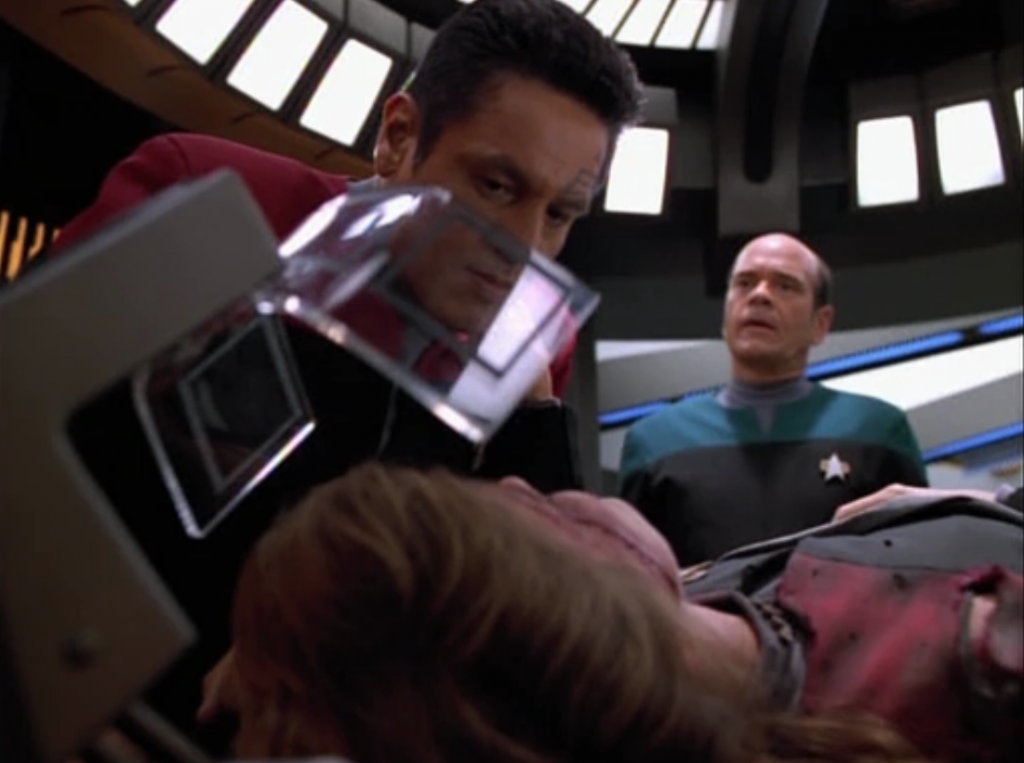Janeway is seriously injured. She tells Chakotay not to screw things up