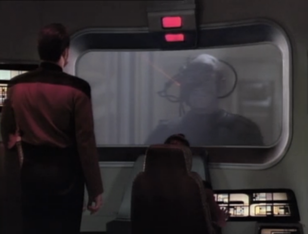 Riker tries to talk with Lotcutus, but he knows that Riker is just trying to stall and fool them