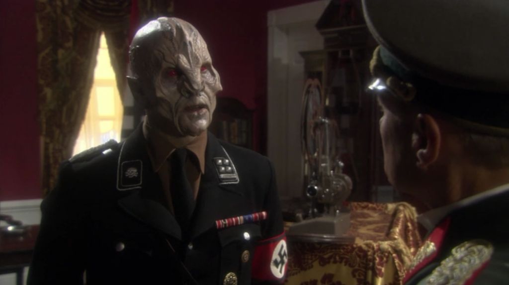 Aliens are helping the Nazis win the war in exchange for resources  to build a time machine