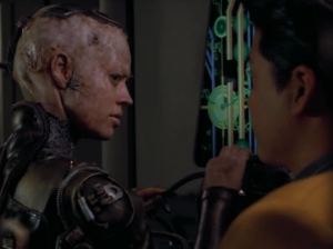 7 of 9 helps take down some of the borg stuff. Kim tries to make conversation with her