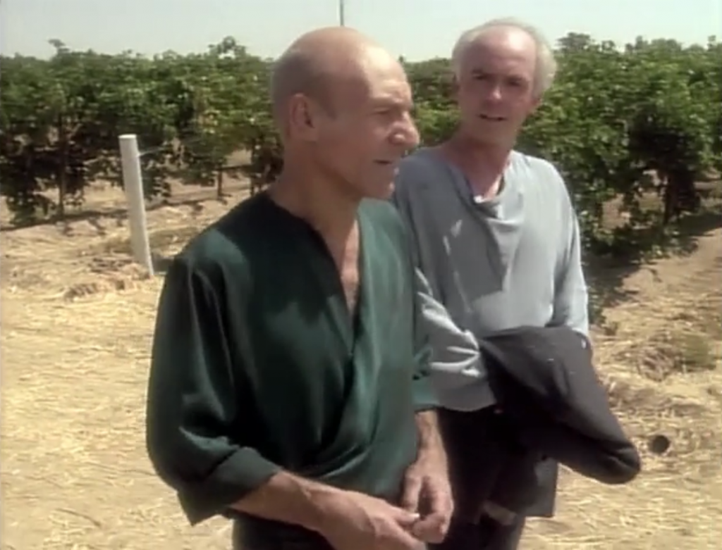 Picard meets up with a friend that's helping to build  a city under water. Picard considers joining him. Kind of