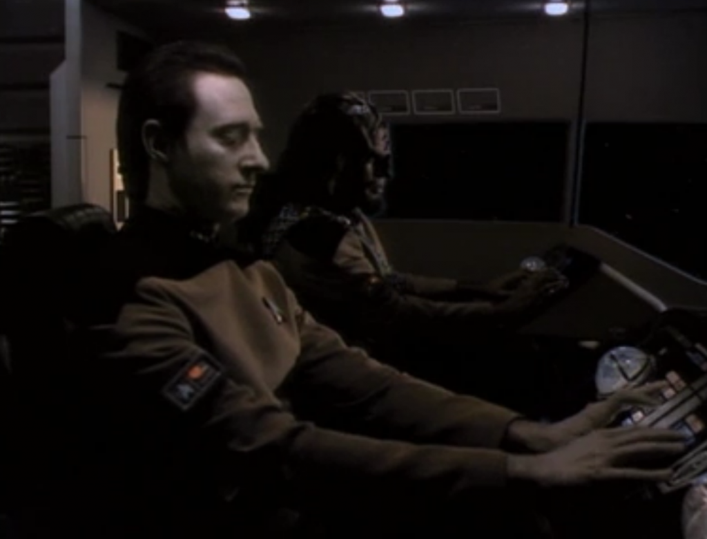 The Borg have found a way to keep people from beaming on their ship, so Worf and Data have to go through their shield