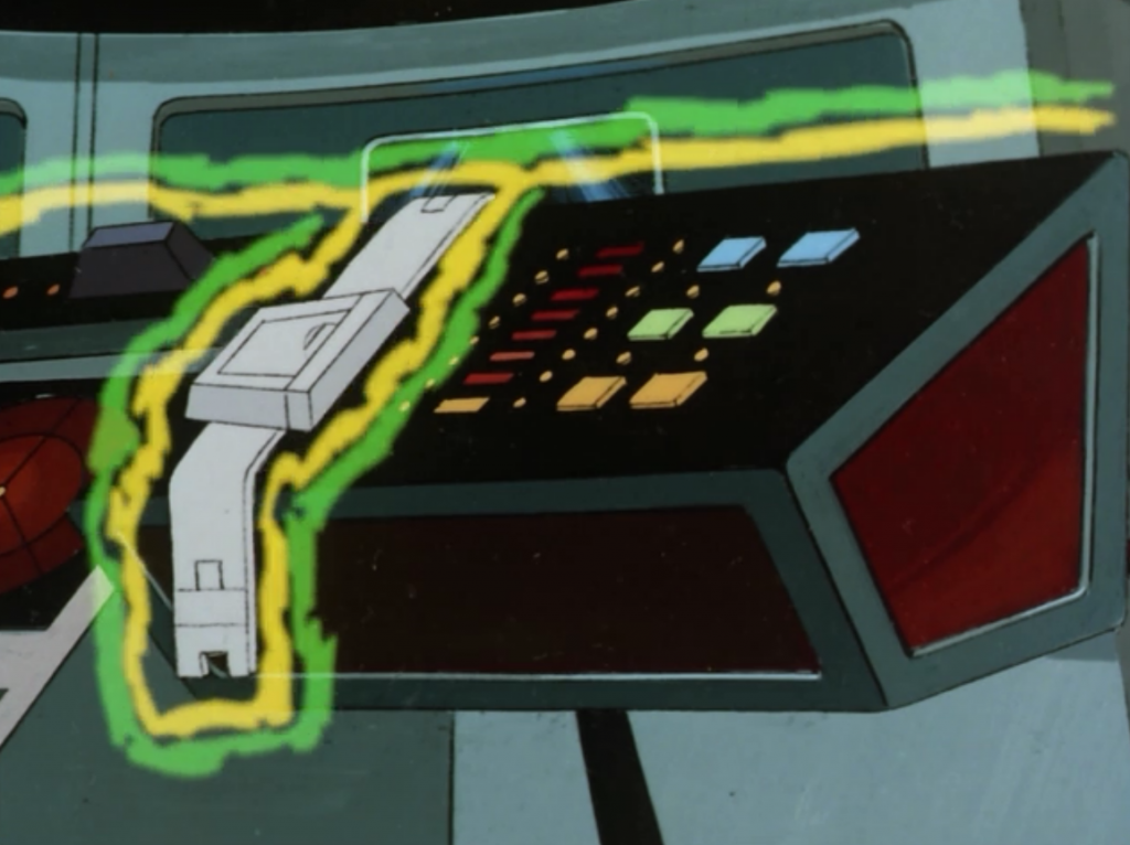 Spock figures out a way to keep the green thing from taking over one station and Kirk puts his belt on it for good measure