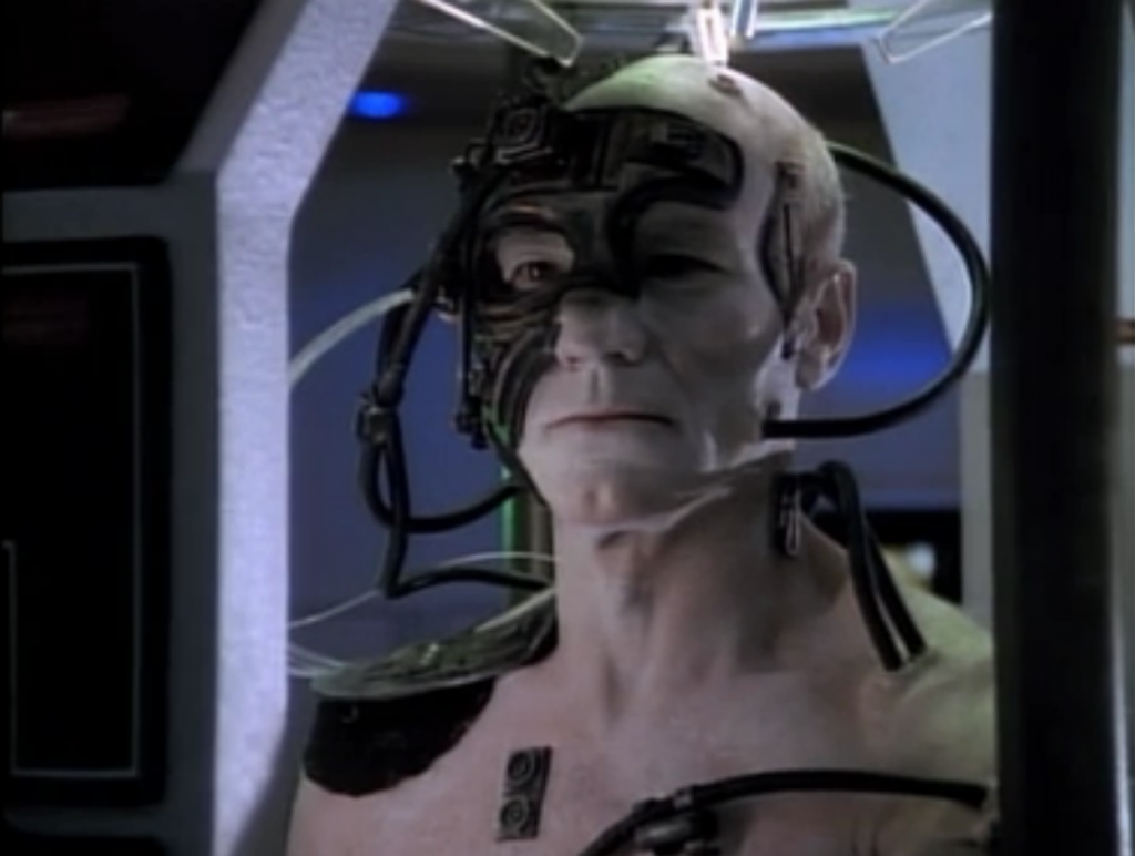 Picard starts to show himself, and they figure out a way for Data to send a command to all of the Borg. He tells them to go to sleep