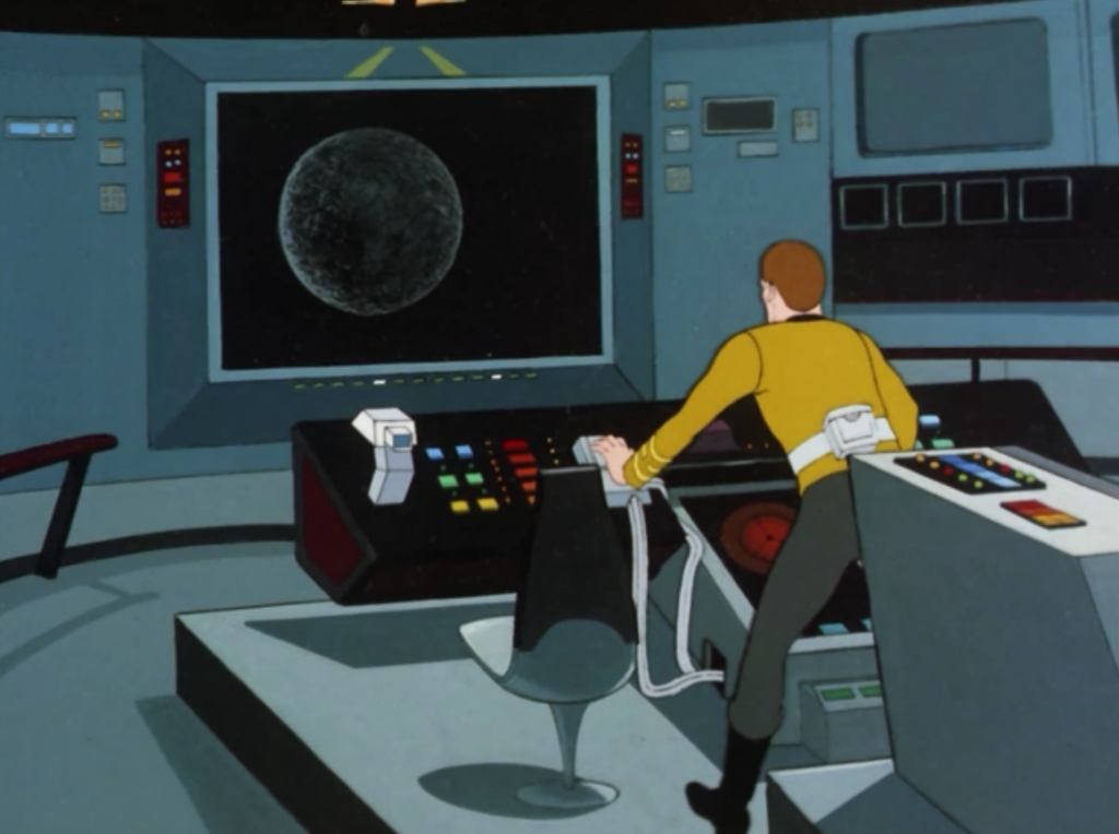 Kirk (who for some reason has his belt on again) decides to crash Enterprise into the dead star