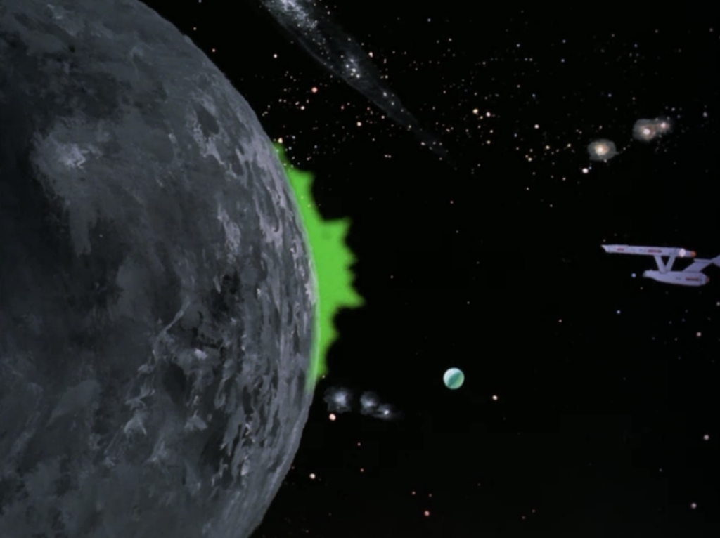 The green thing chickens out and transfers itself to the dead star. Enterprise pulls out of there and breaks from orbit