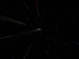 Kes blasts Voyager all the way past Borg space, a distance that would've taken them 10 years to cover