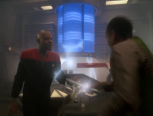 Sisko gets hit with a warp core discharge which pulls him into subspace. Everyone thinks he's dead