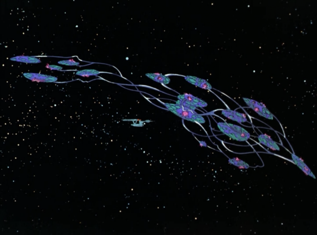 they get stuck in orbit along with a massive uninhabited ship