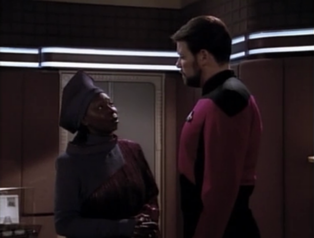 Guinan tells Riker that he can't try to think about what Picard would do if he were there, because Locutus will predict his actions