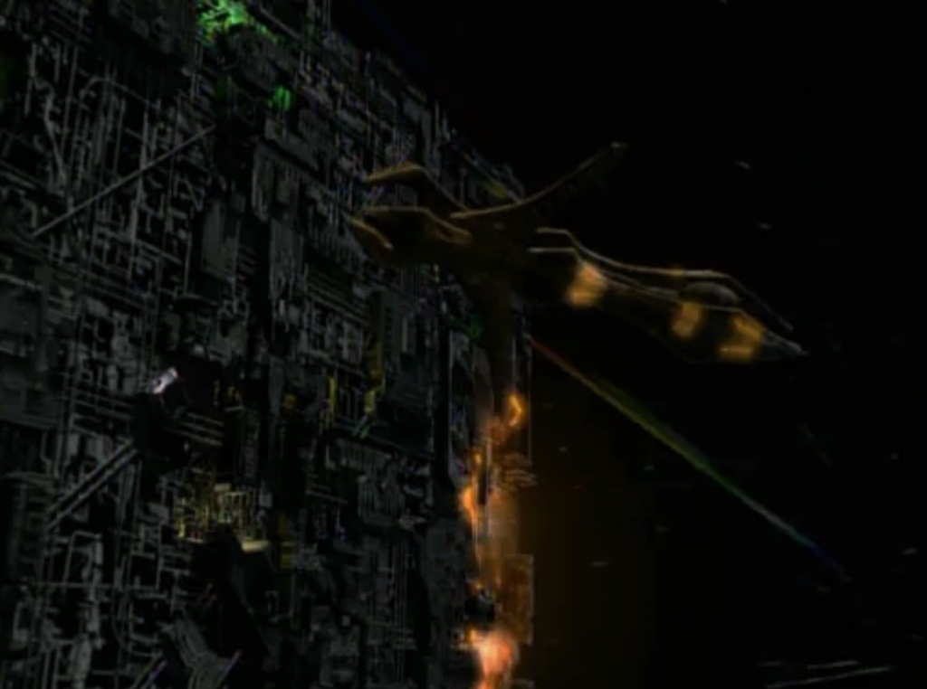 Species 8472 attacks. The Borg cube sacrifices itself to save Voyager