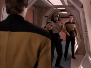 Data drives Enterprise to some location and then beams himself off of the ship