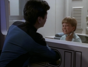 Back on Enterprise, there's some kid that is sick. He's gonna die or something