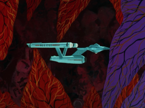 Enterprise goes through different sections of the cloud, and Bones informs everyone about what part of the digestive system he thinks they're in