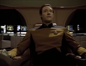 Data takes over Enterprise! It's kind of like in Insurrection, except with less singing