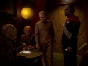 But Odo was planning a super secret sting operation to get to top dogs. Worf ruined it. Odo says he didn't tell Worf because word might get out...but he probably could've just told Worf