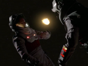 After a little fight, Paris and B'Elanna have to beam out into space to avoid blowing up