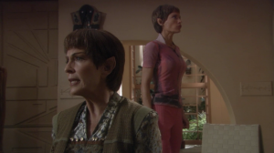 T'Pol's mom is being punished for T'Pol leaving. I don't think Vulcans have very good eye sight. Do they know they aren't even facing each other?