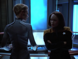 Seven gets lonely and asks to help out somewhere. They stick her in engineering to mess around with the warp core
