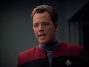Paris helped design the holo-program and he wants to hear about it. But B'Elanna doesn't want to talk about it. Fight!