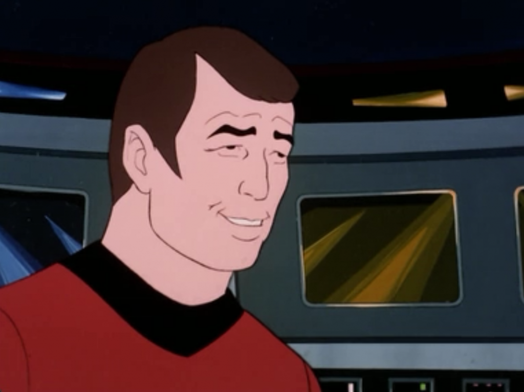 Back on Enterprise, Scotty's gone all weird along with all the other guys