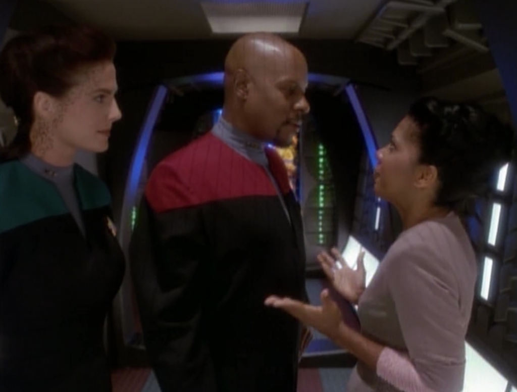 The sub-plot is that Kassidy is moving to DS9 and Sisko isn't totally excited at first