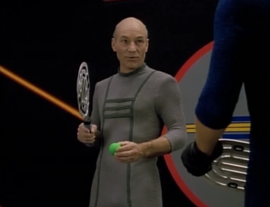Instead of making a silly sound to relieve stress, Picard suggests playing some silly game. I think they're bonding or something