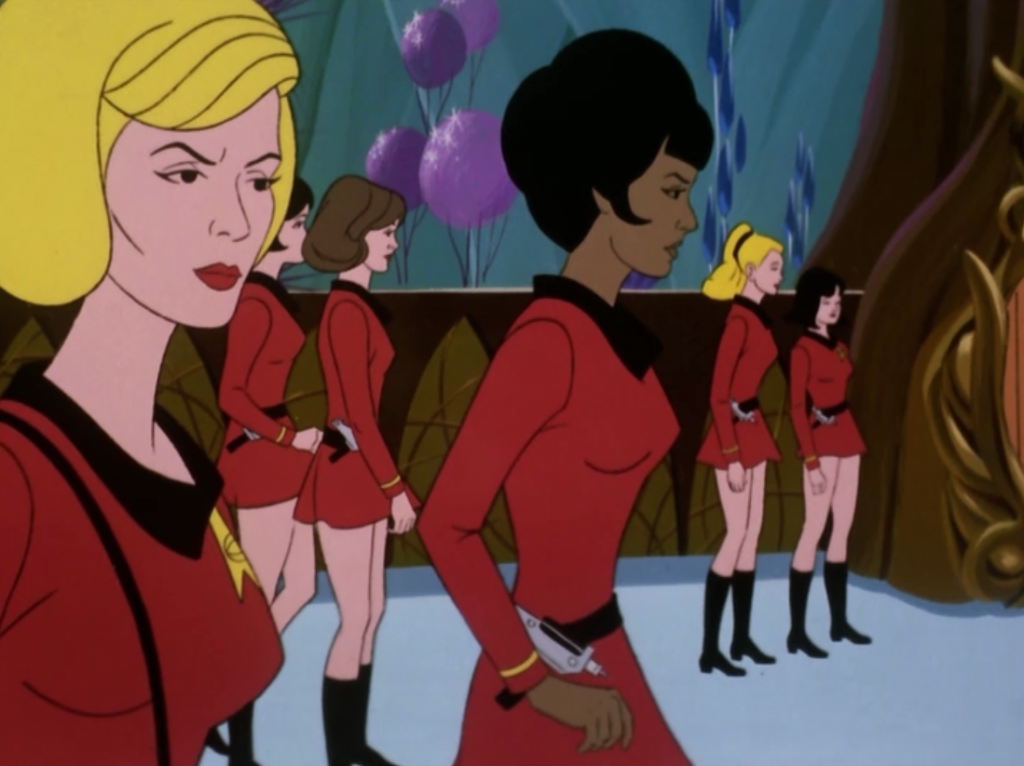 Uhura and Chapel lead a rescue party. Hey Chapel is wearing red