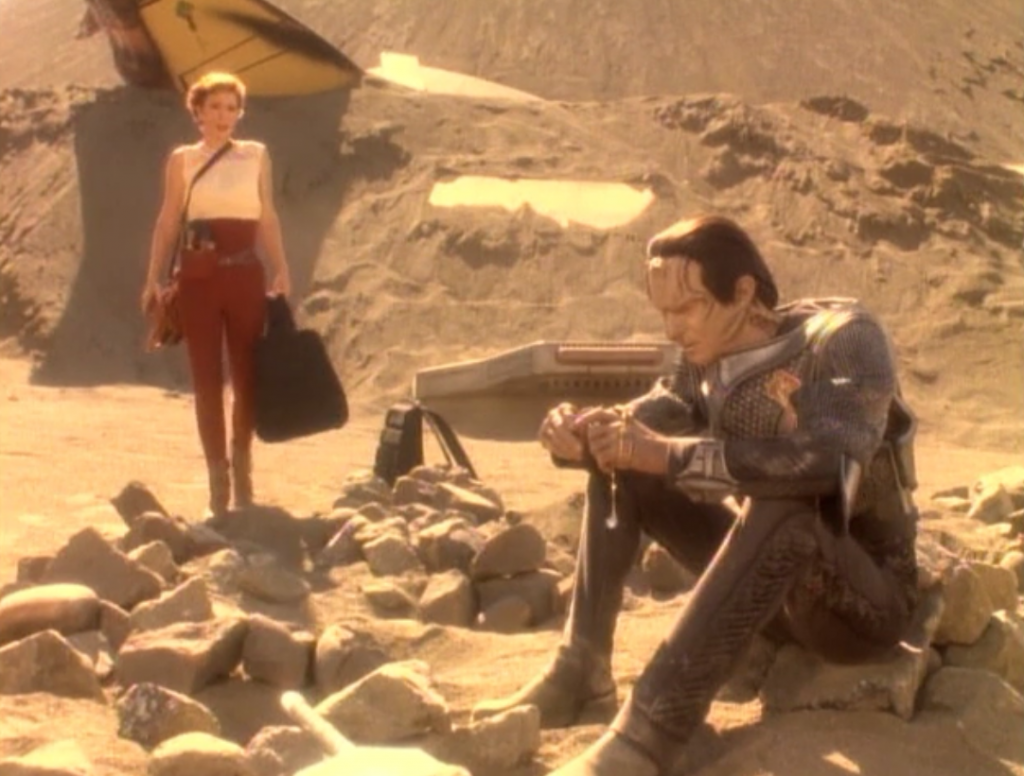 Turns out this is a personal mission for Dukat. He had a Bajoran lady friend on the ship