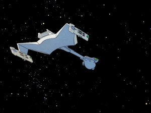 They come across the Klingons attacking a small federation ship!