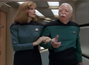 Crusher gets a visit from from an old mentor who infuriatingly hasa  uniform with a different shade of blue