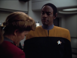 Tuvok gets promoted to Lt. Commander! Bout time!