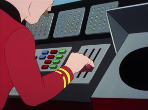 A lot of the time they cut to a re-used bit of animation when Scotty is operating the transporter, and it's clearly not Scotty