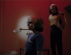 Worf tries to teach the boy the ways of the Klingons