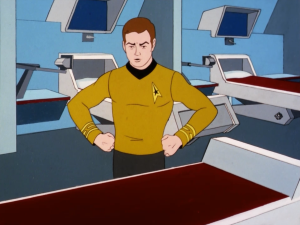 Kirk realizes that there's an extra bed in the room so he starts to lecture it