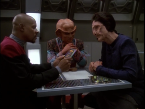 Sisko takes the Defiant out to the Delta Quadrant to do business
