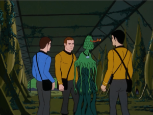 Kirk, Bones and Sulu go back to the planet and find a plant to question.