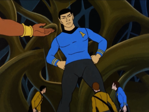 They figure out where Spock is, but he's already been cloned
