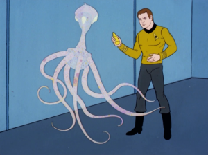 When he threatens it with mustard it changes back to the alien