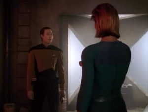 Data has kind of a cool confrontation with her, and stops her from shutting down the people defenses, allowing her group to take them over